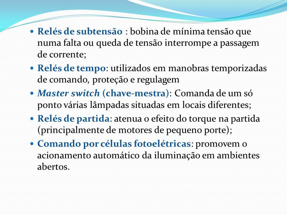Relés de subtensão : bobina de mínima tensão que numa falta ou queda de tensão interrompe a passagem de corrente;