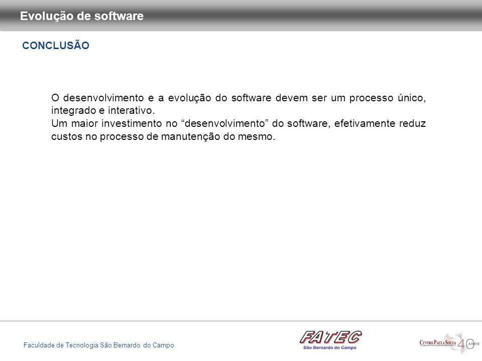 Evolução de software CONCLUSÃO