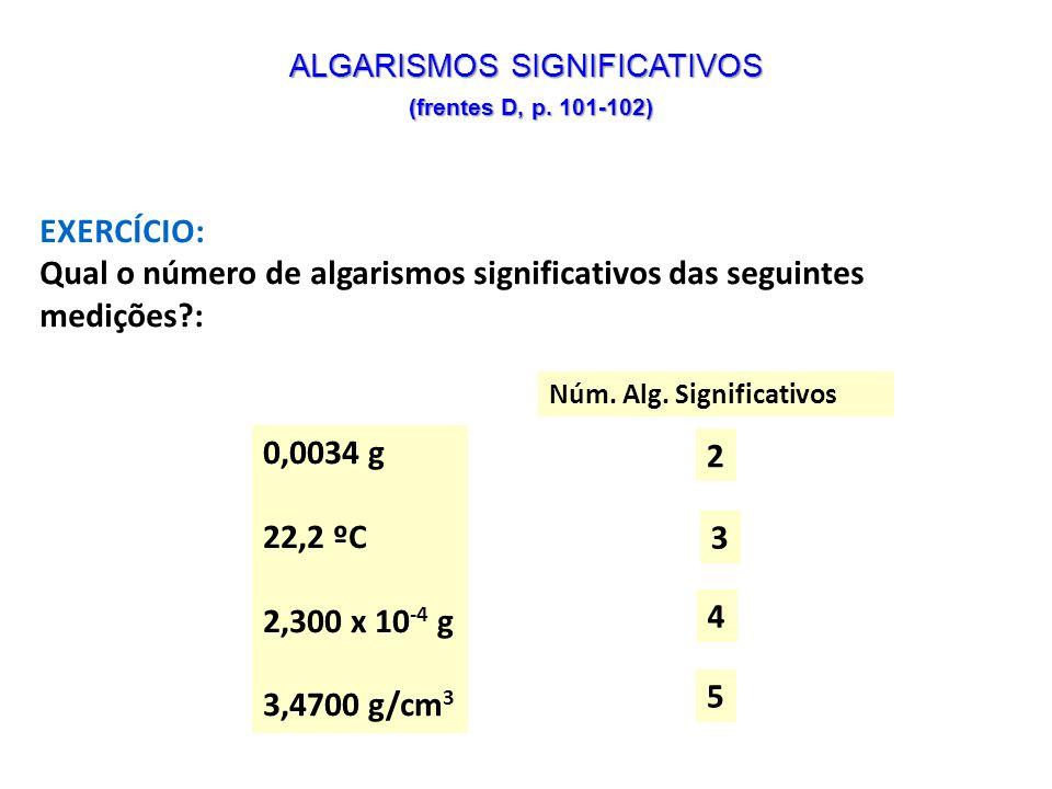 ALGARISMOS SIGNIFICATIVOS (frentes D, p. 101-102)