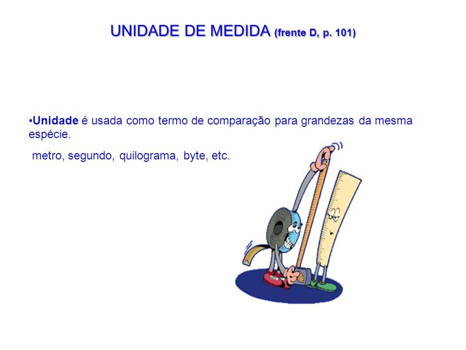 UNIDADE DE MEDIDA (frente D, p. 101)