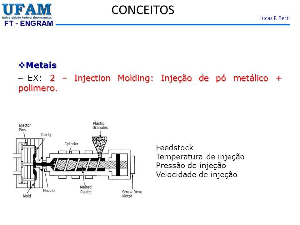 CONCEITOS Metais. EX: 2 – Injection Molding: Injeção de pó metálico + polimero. Feedstock. Temperatura de injeção.