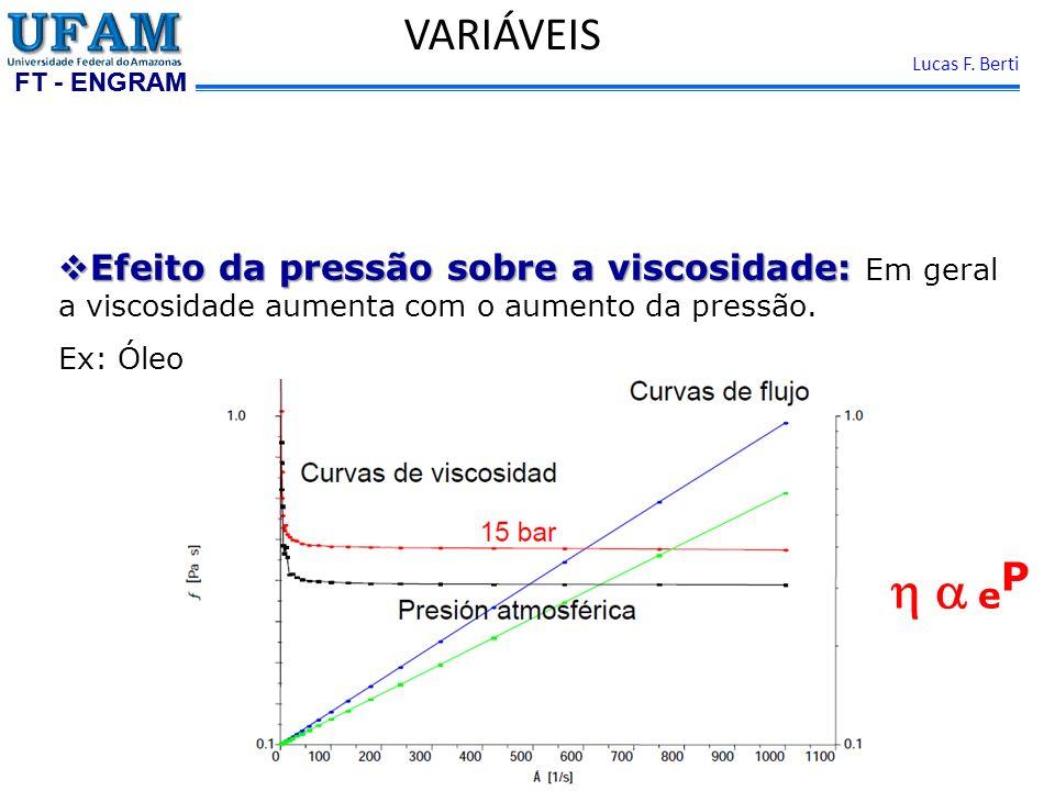 VARIÁVEIS Efeito da pressão sobre a viscosidade: Em geral a viscosidade aumenta com o aumento da pressão.
