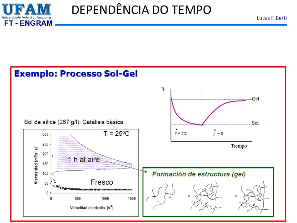 DEPENDÊNCIA DO TEMPO Exemplo: Processo Sol-Gel