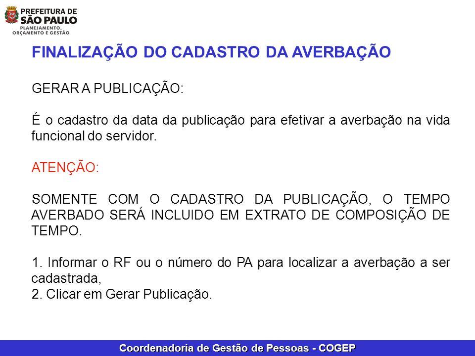 FINALIZAÇÃO DO CADASTRO DA AVERBAÇÃO