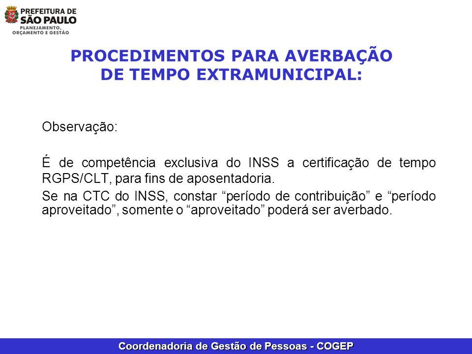 PROCEDIMENTOS PARA AVERBAÇÃO DE TEMPO EXTRAMUNICIPAL: