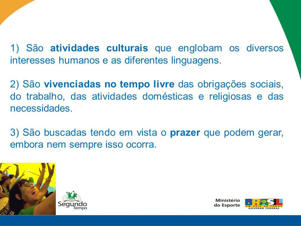 1) São atividades culturais que englobam os diversos interesses humanos e as diferentes linguagens.