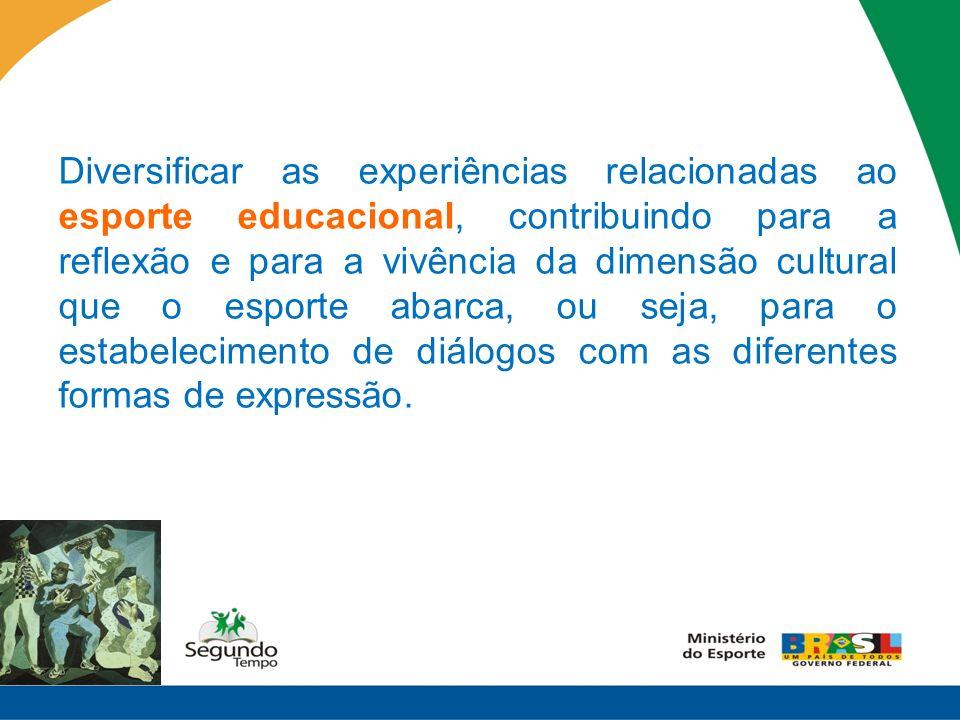 Diversificar as experiências relacionadas ao esporte educacional, contribuindo para a reflexão e para a vivência da dimensão cultural que o esporte abarca, ou seja, para o estabelecimento de diálogos com as diferentes formas de expressão.