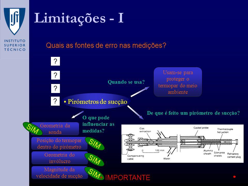 Limitações - I Quais as fontes de erro nas medições