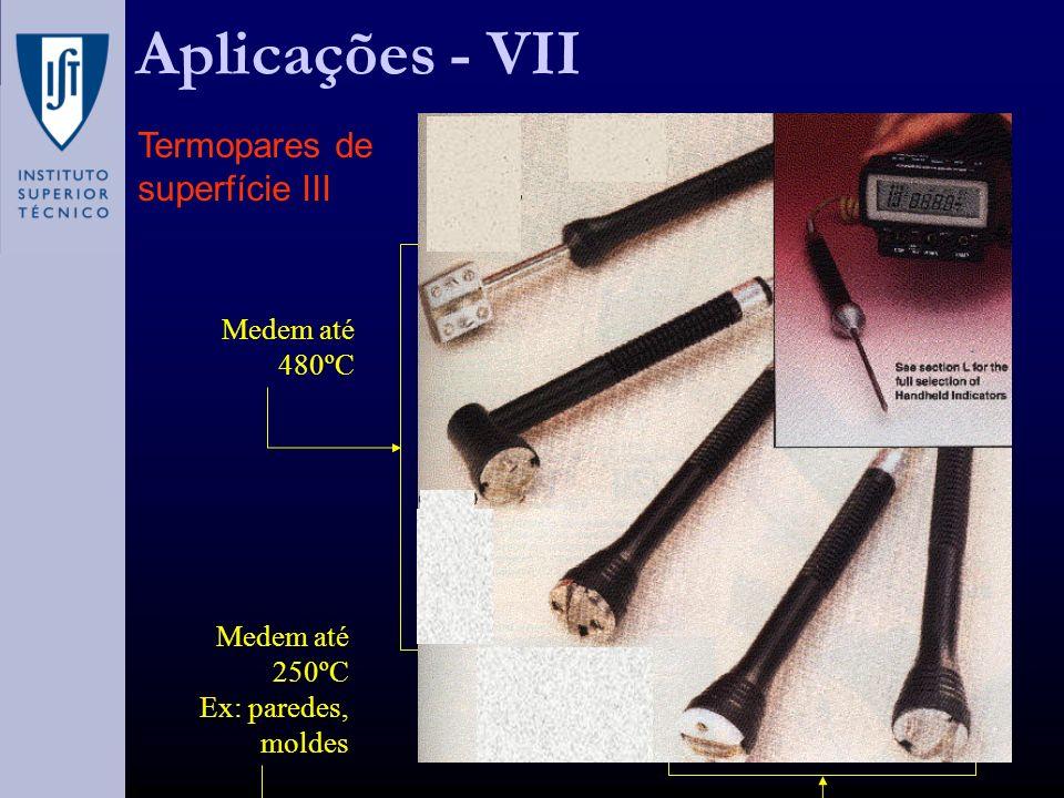 Aplicações - VII Termopares de superfície III Medem até 480ºC