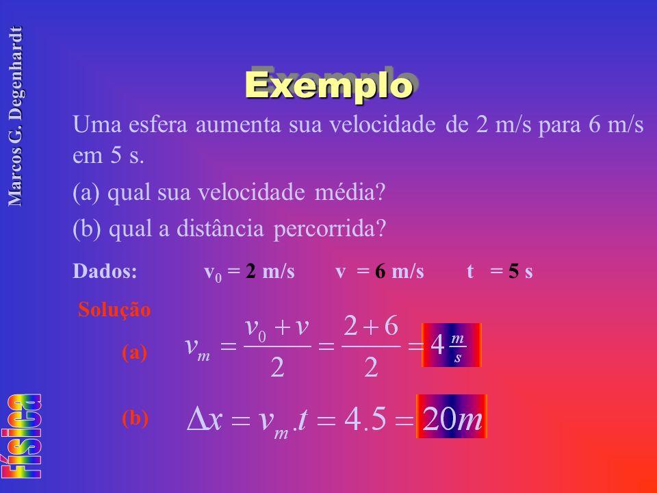 Exemplo Uma esfera aumenta sua velocidade de 2 m/s para 6 m/s em 5 s.