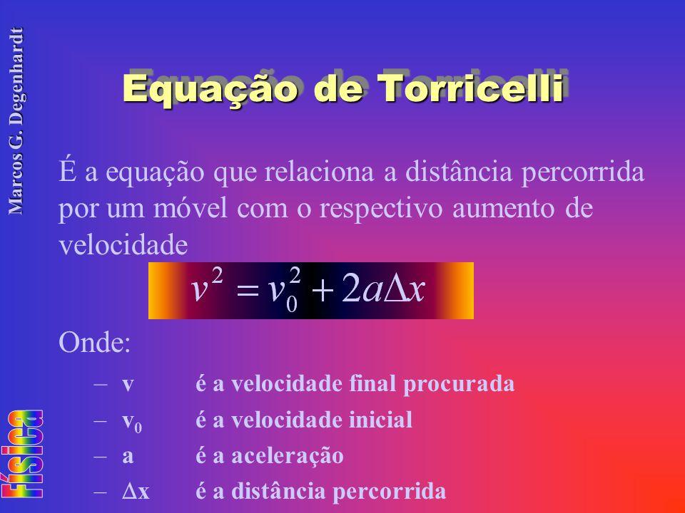 Equação de Torricelli É a equação que relaciona a distância percorrida por um móvel com o respectivo aumento de velocidade.
