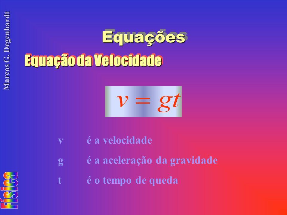Equações Equação da Velocidade v é a velocidade