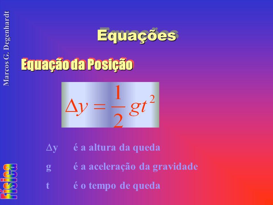 Equações Equação da Posição y é a altura da queda
