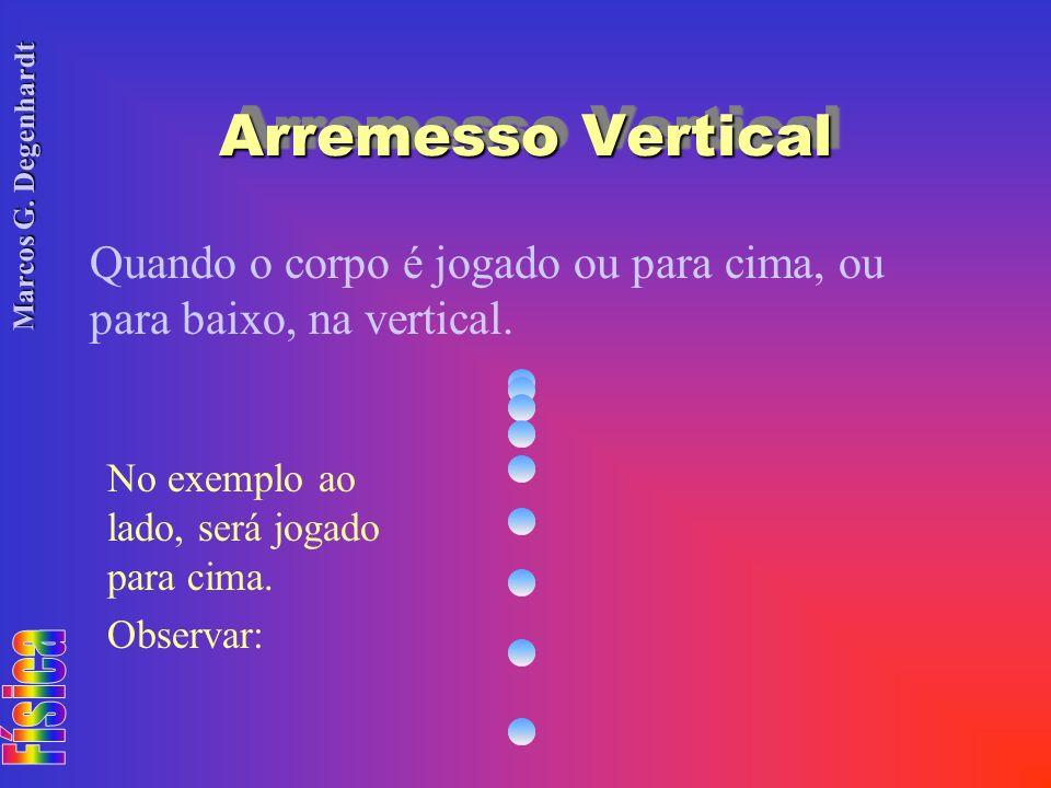Arremesso Vertical Quando o corpo é jogado ou para cima, ou para baixo, na vertical. No exemplo ao lado, será jogado para cima.