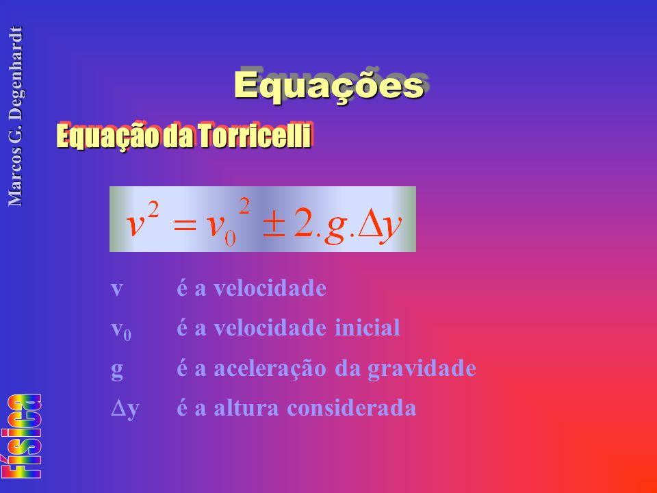 Equações Equação da Torricelli v é a velocidade