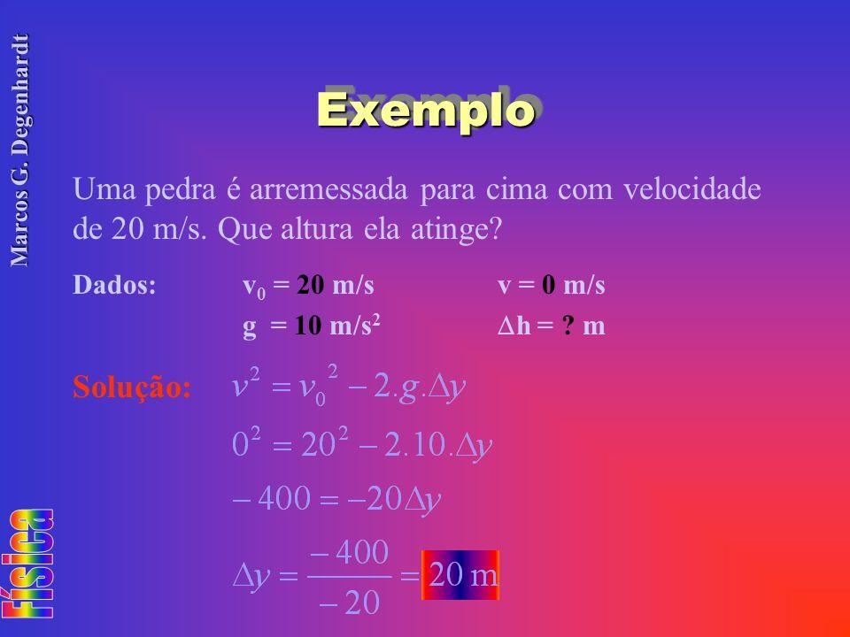 Exemplo Uma pedra é arremessada para cima com velocidade de 20 m/s. Que altura ela atinge Dados: v0 = 20 m/s v = 0 m/s.