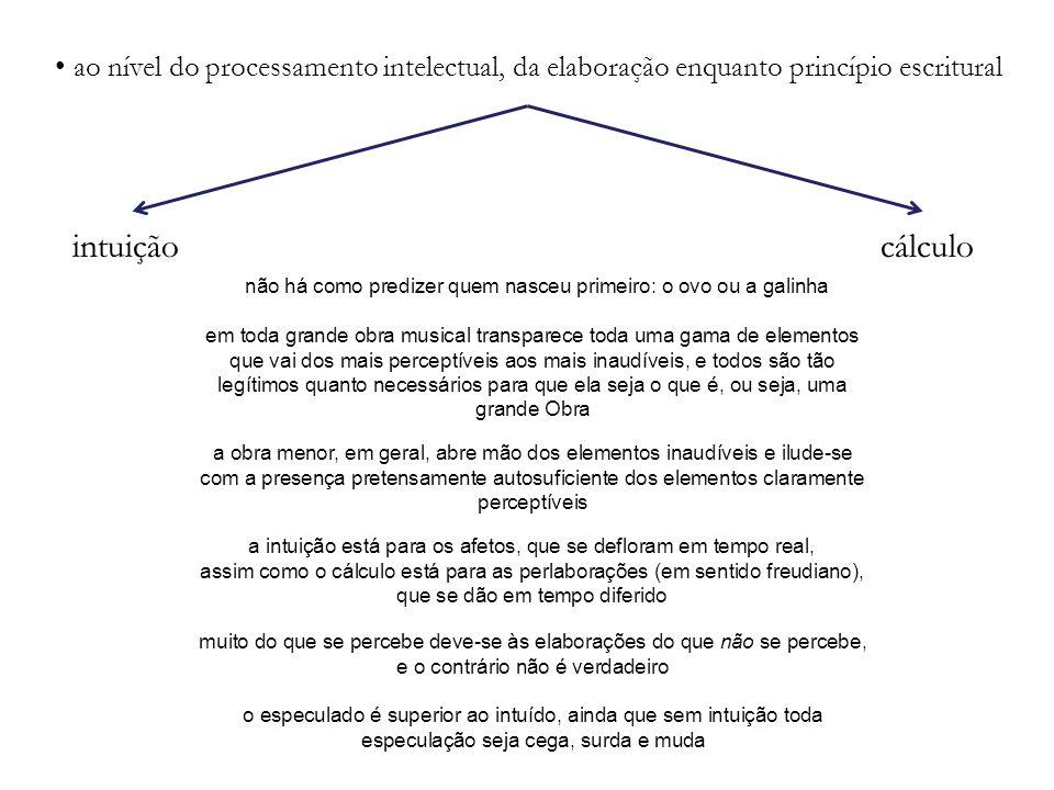 ao nível do processamento intelectual, da elaboração enquanto princípio escritural
