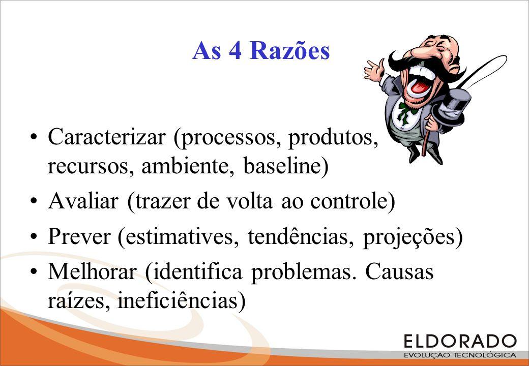 As 4 Razões Caracterizar (processos, produtos, recursos, ambiente, baseline) Avaliar (trazer de volta ao controle)