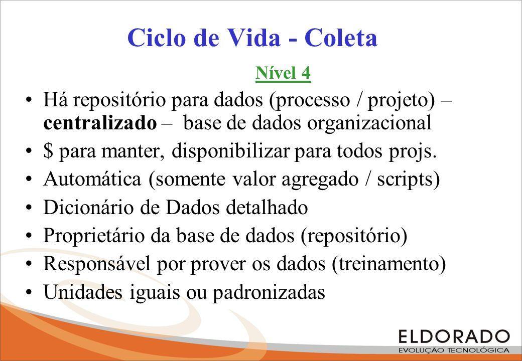 Ciclo de Vida - Coleta Nível 4. Há repositório para dados (processo / projeto) – centralizado – base de dados organizacional.