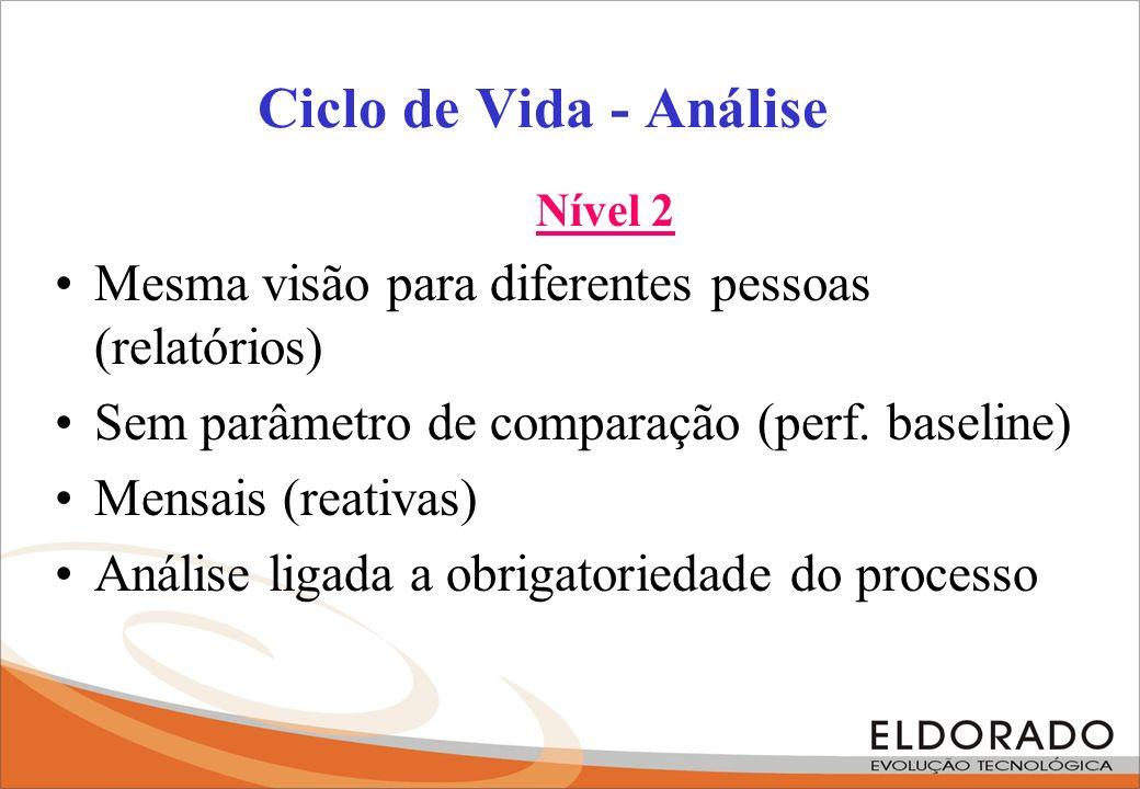 Ciclo de Vida - Análise Nível 2. Mesma visão para diferentes pessoas (relatórios) Sem parâmetro de comparação (perf. baseline)