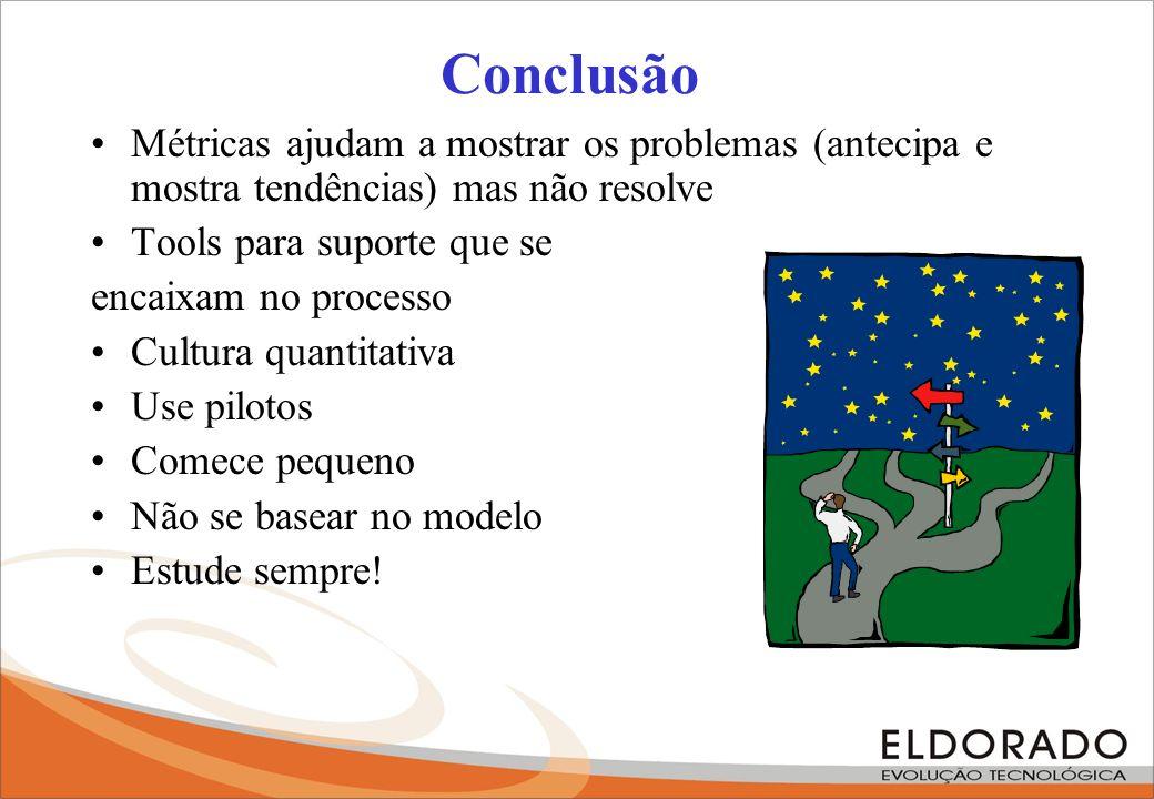Conclusão Métricas ajudam a mostrar os problemas (antecipa e mostra tendências) mas não resolve. Tools para suporte que se.