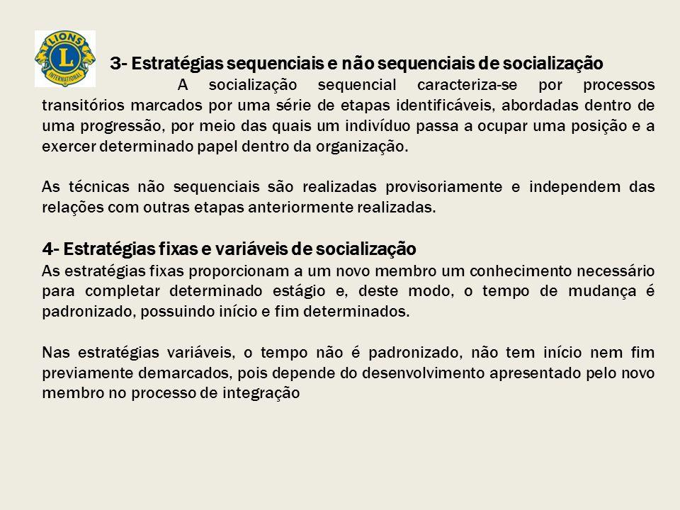3- Estratégias sequenciais e não sequenciais de socialização