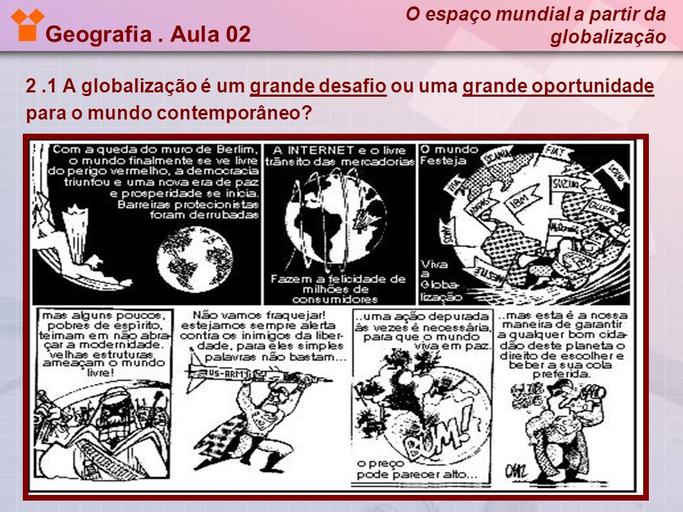 Geografia . Aula 02 O espaço mundial a partir da globalização