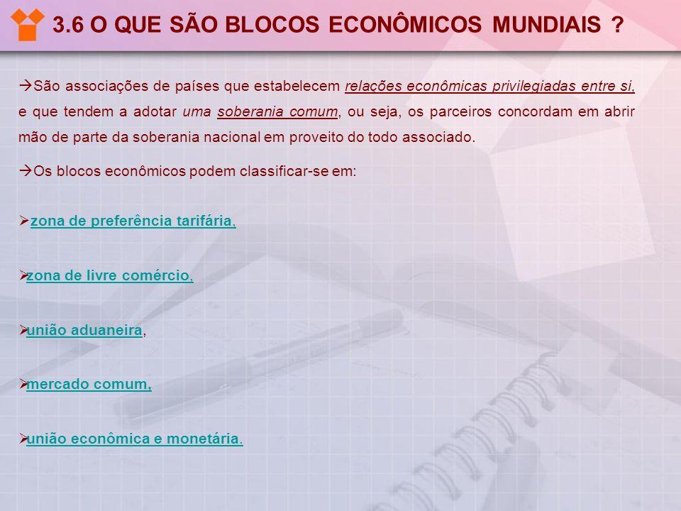 3.6 O QUE SÃO BLOCOS ECONÔMICOS MUNDIAIS