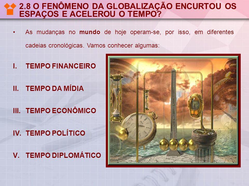2.8 O FENÔMENO DA GLOBALIZAÇÃO ENCURTOU OS ESPAÇOS E ACELEROU O TEMPO