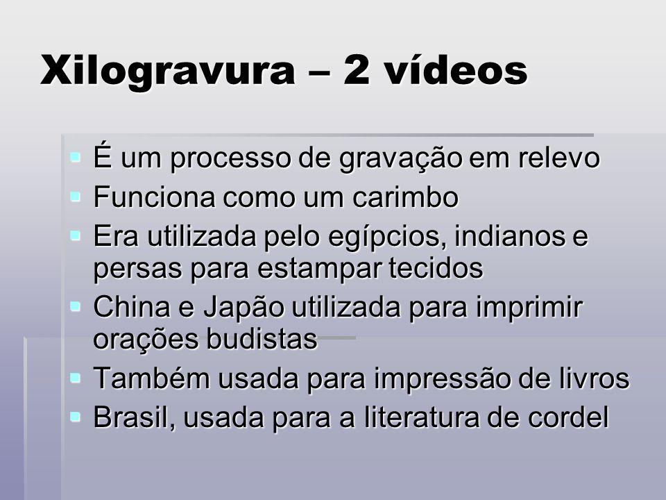 Xilogravura – 2 vídeos É um processo de gravação em relevo