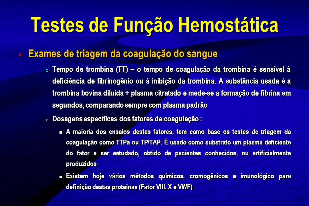 Testes de Função Hemostática