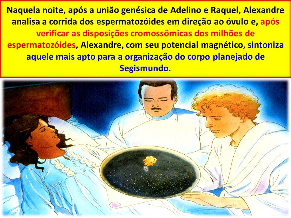 Naquela noite, após a união genésica de Adelino e Raquel, Alexandre analisa a corrida dos espermatozóides em direção ao óvulo e, após verificar as disposições cromossômicas dos milhões de espermatozóides, Alexandre, com seu potencial magnético, sintoniza aquele mais apto para a organização do corpo planejado de Segismundo.