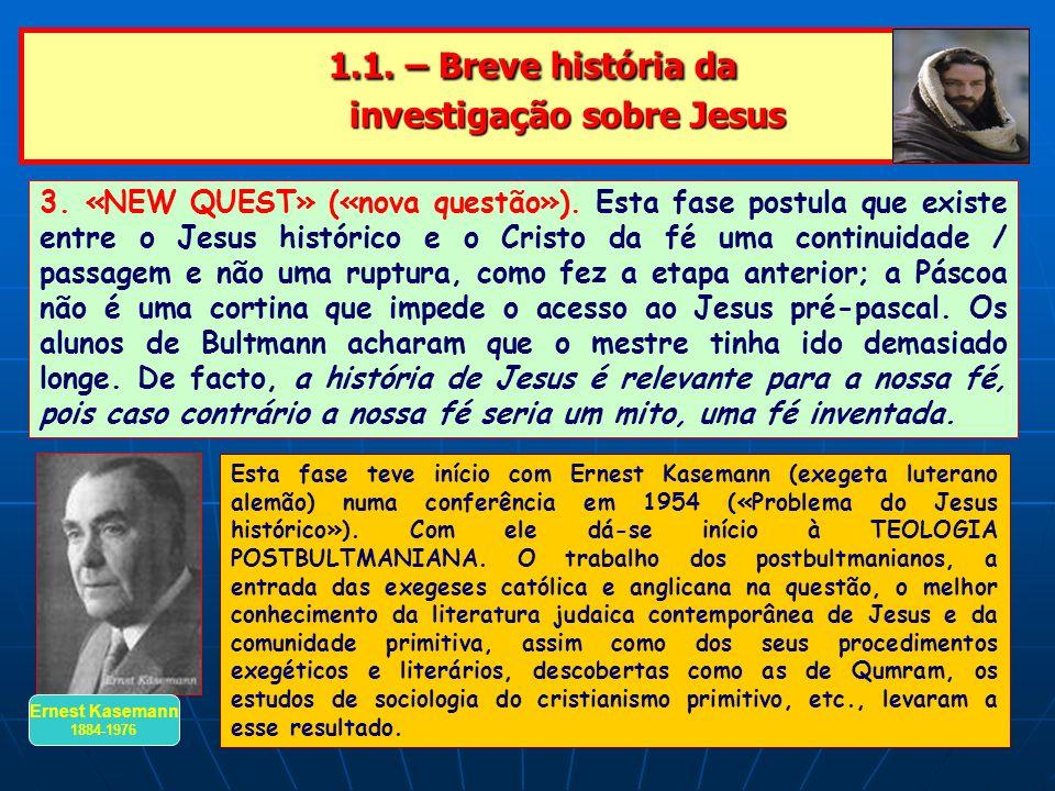 1.1. – Breve história da investigação sobre Jesus