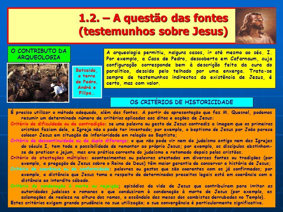 1.2. – A questão das fontes (testemunhos sobre Jesus)