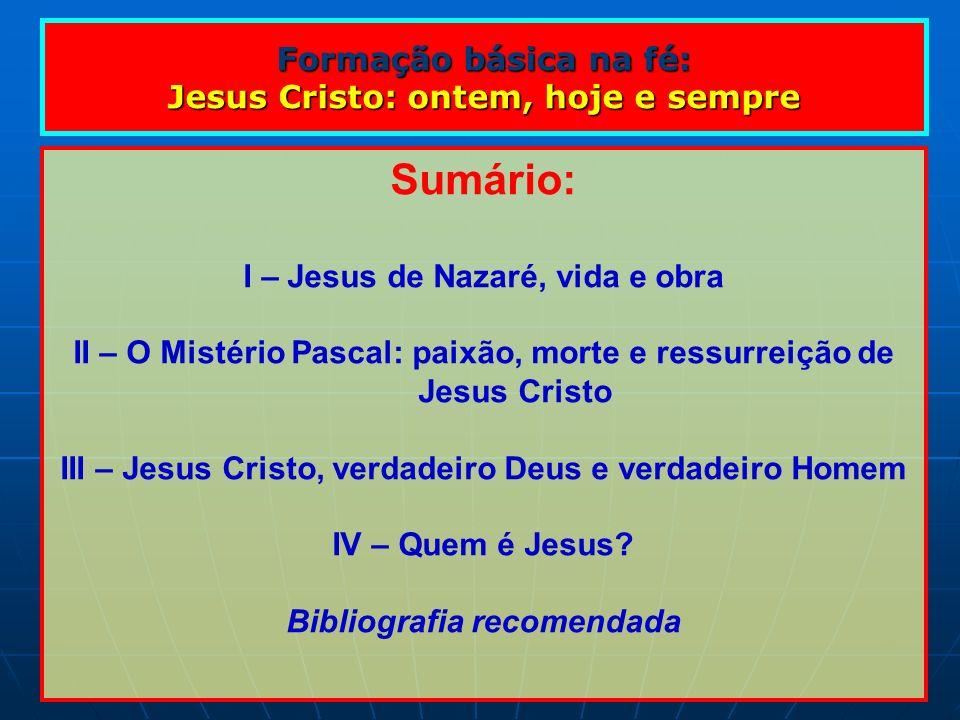 Sumário: Formação básica na fé: Jesus Cristo: ontem, hoje e sempre