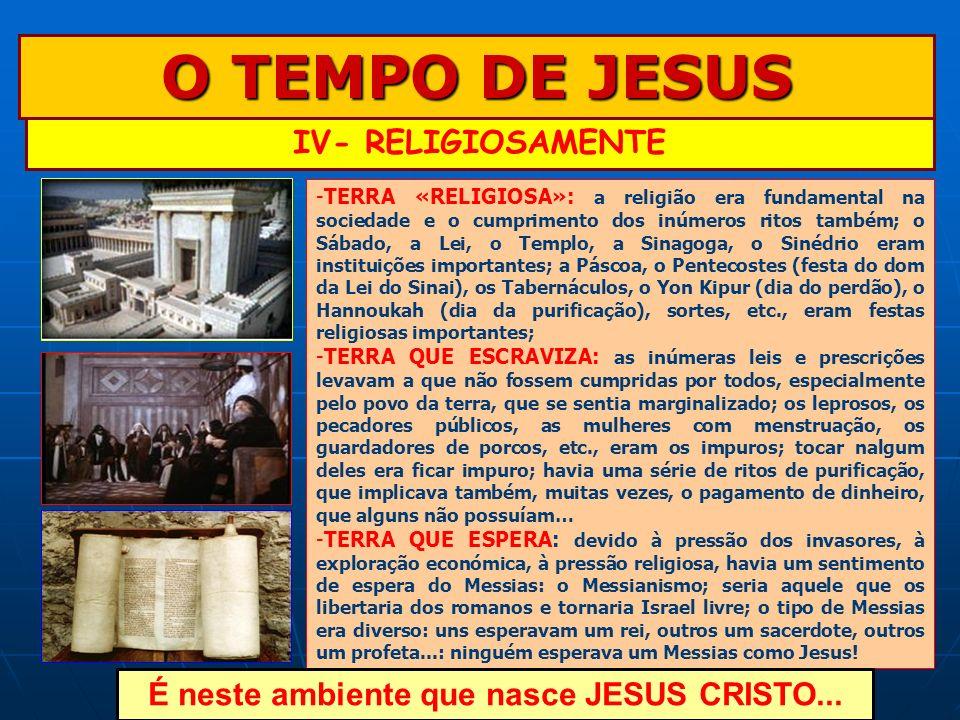 É neste ambiente que nasce JESUS CRISTO...