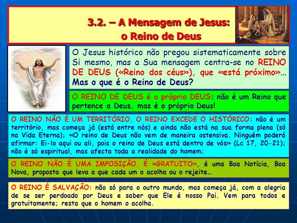 3.2. – A Mensagem de Jesus: o Reino de Deus