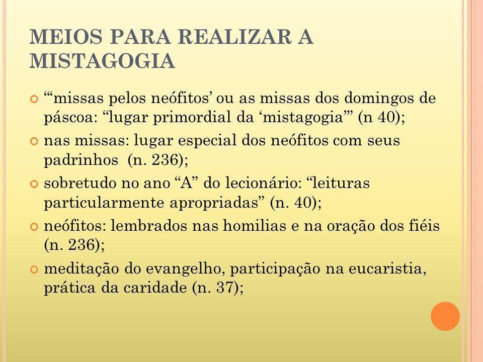 MEIOS PARA REALIZAR A MISTAGOGIA