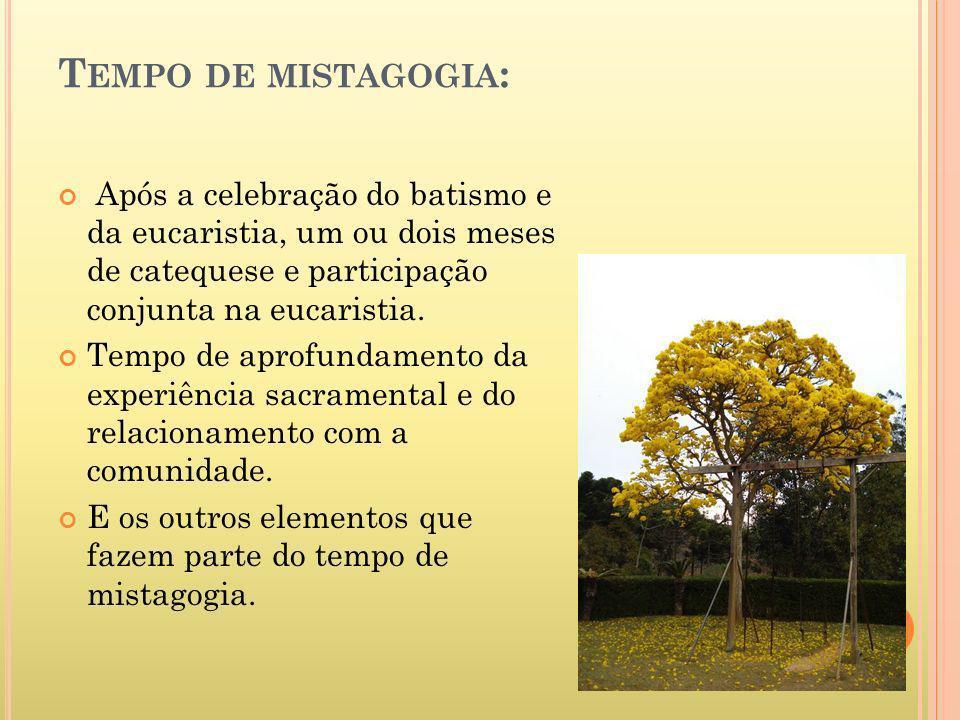Tempo de mistagogia: Após a celebração do batismo e da eucaristia, um ou dois meses de catequese e participação conjunta na eucaristia.