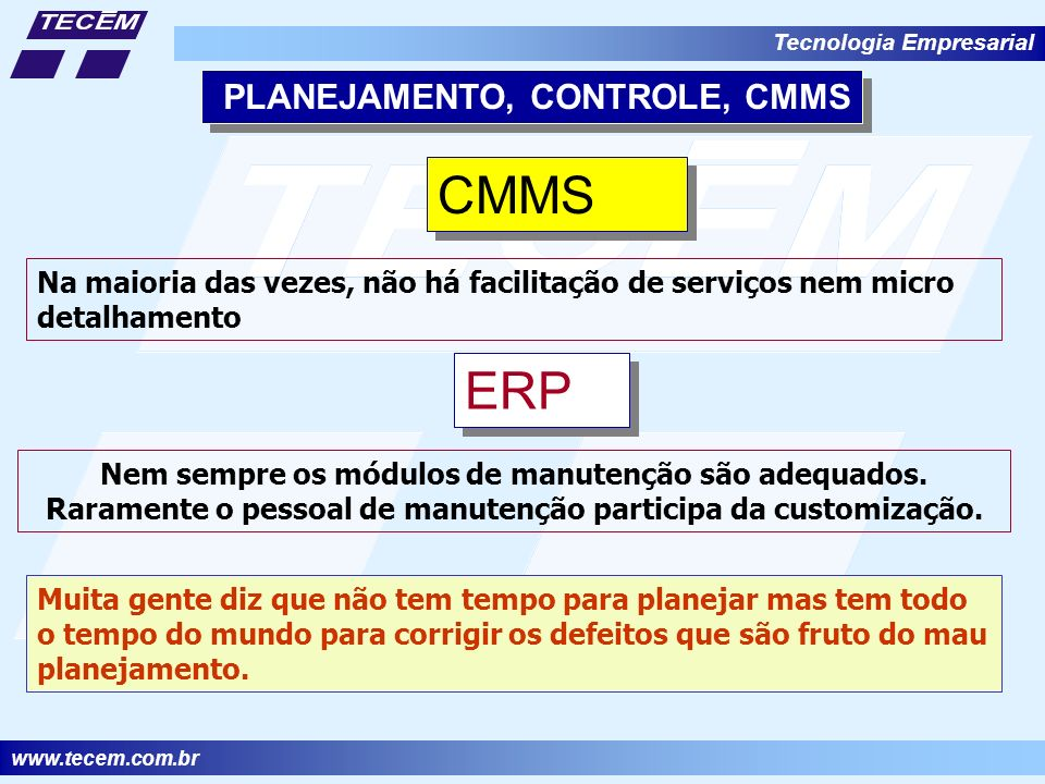 CMMS ERP PLANEJAMENTO, CONTROLE, CMMS