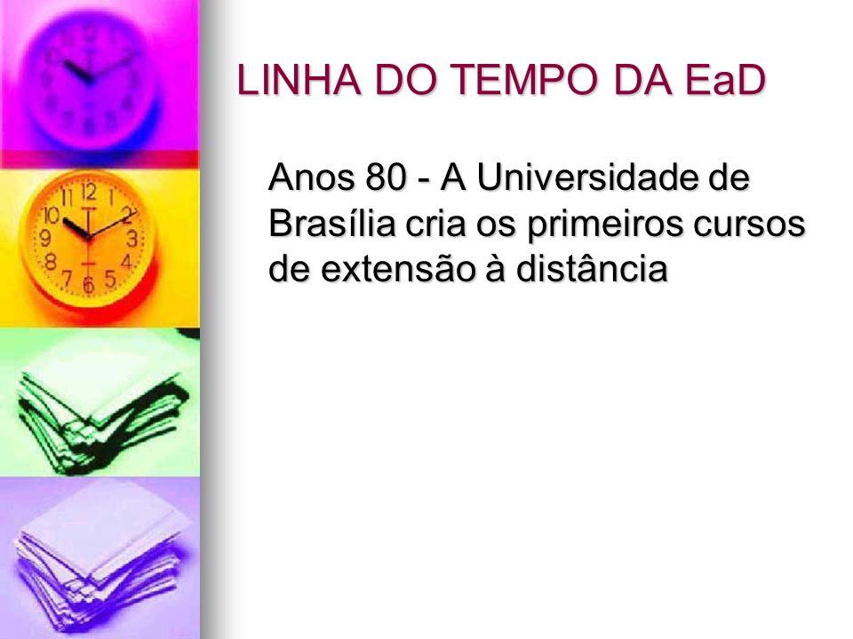 LINHA DO TEMPO DA EaD Anos 80 - A Universidade de Brasília cria os primeiros cursos de extensão à distância.