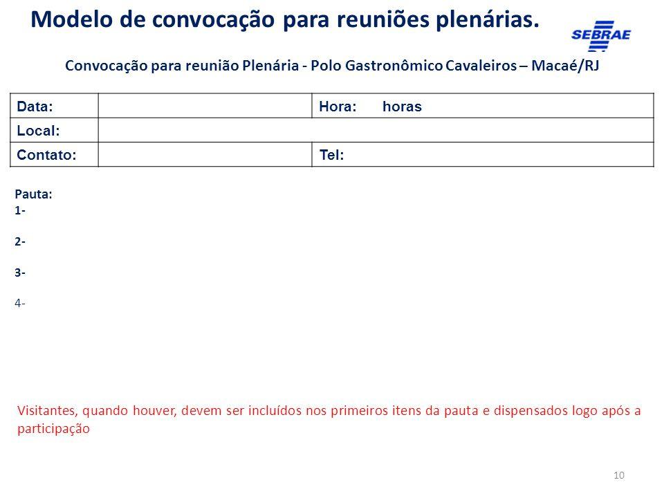 Modelo de convocação para reuniões plenárias.