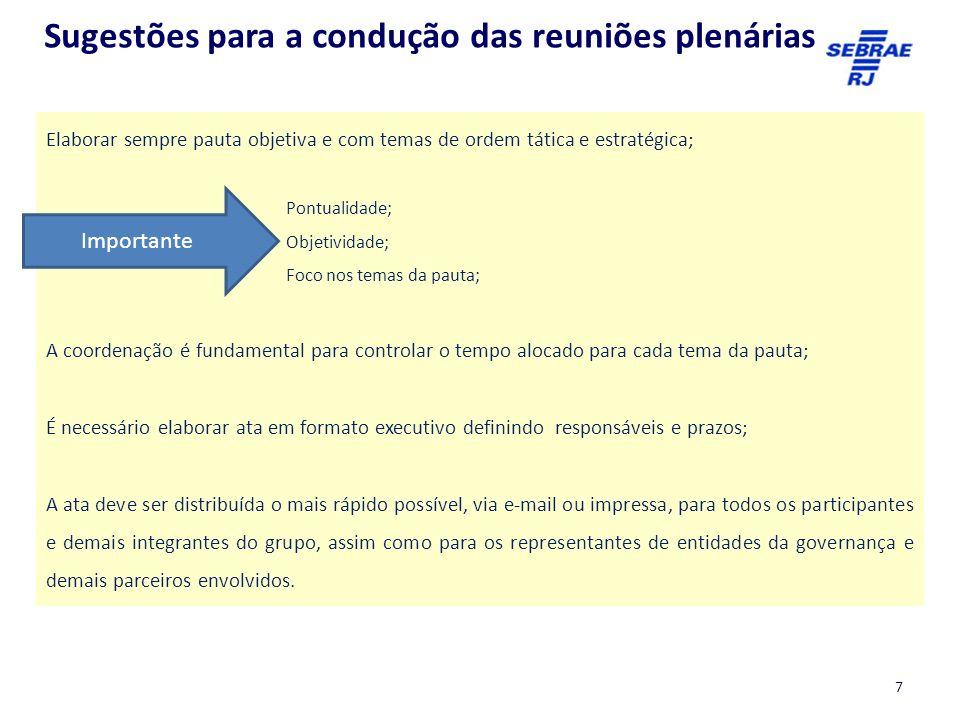 Sugestões para a condução das reuniões plenárias