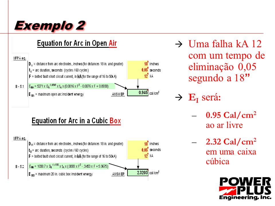 Exemplo 2 Uma falha kA 12 com um tempo de eliminação 0,05 segundo a 18 EI será: 0.95 Cal/cm2 ao ar livre.