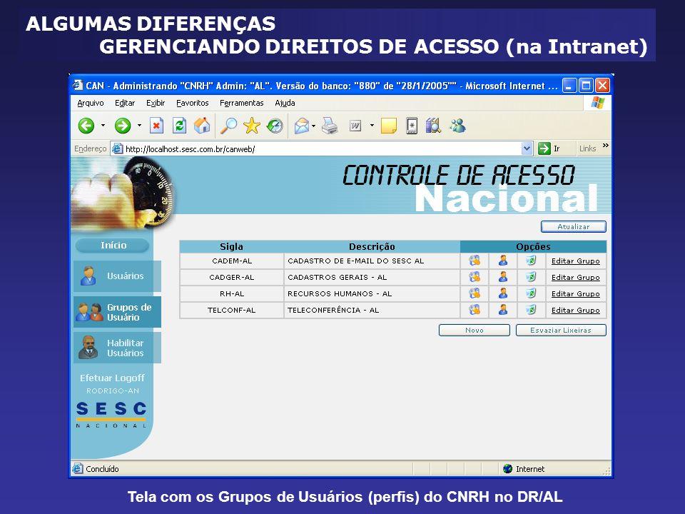 Tela com os Grupos de Usuários (perfis) do CNRH no DR/AL