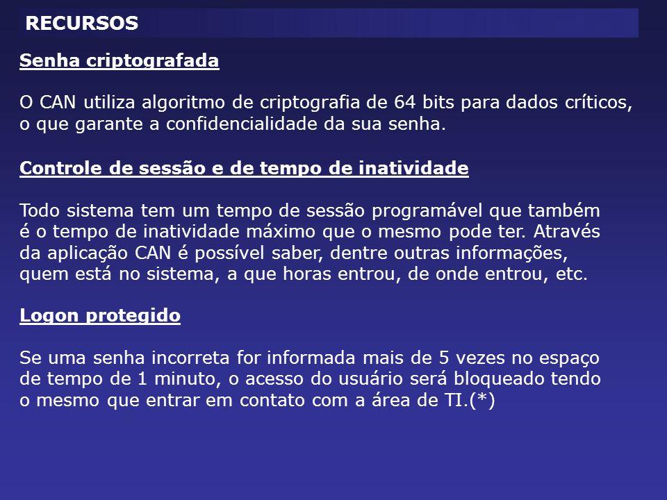 RECURSOS Senha criptografada