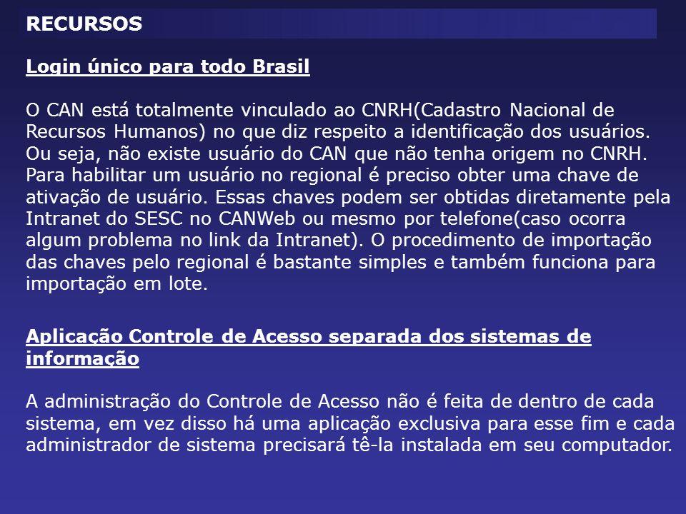 RECURSOS Login único para todo Brasil
