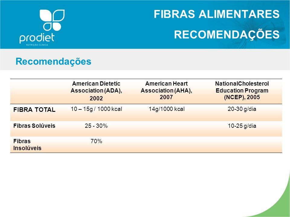FIBRAS ALIMENTARES RECOMENDAÇÕES