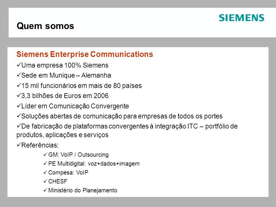 Quem somos Siemens Enterprise Communications Uma empresa 100% Siemens