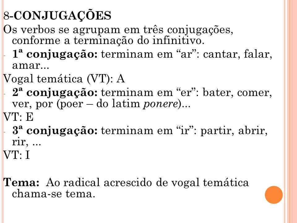 8-CONJUGAÇÕES Os verbos se agrupam em três conjugações, conforme a terminação do infinitivo.
